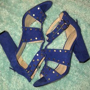 NICOLE MILLER Royal Blue studded heeled sandals